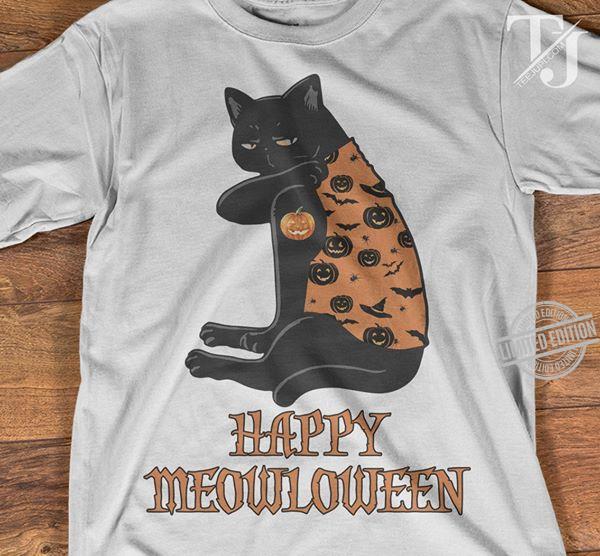Black Cat Happy Meowloween Shirt