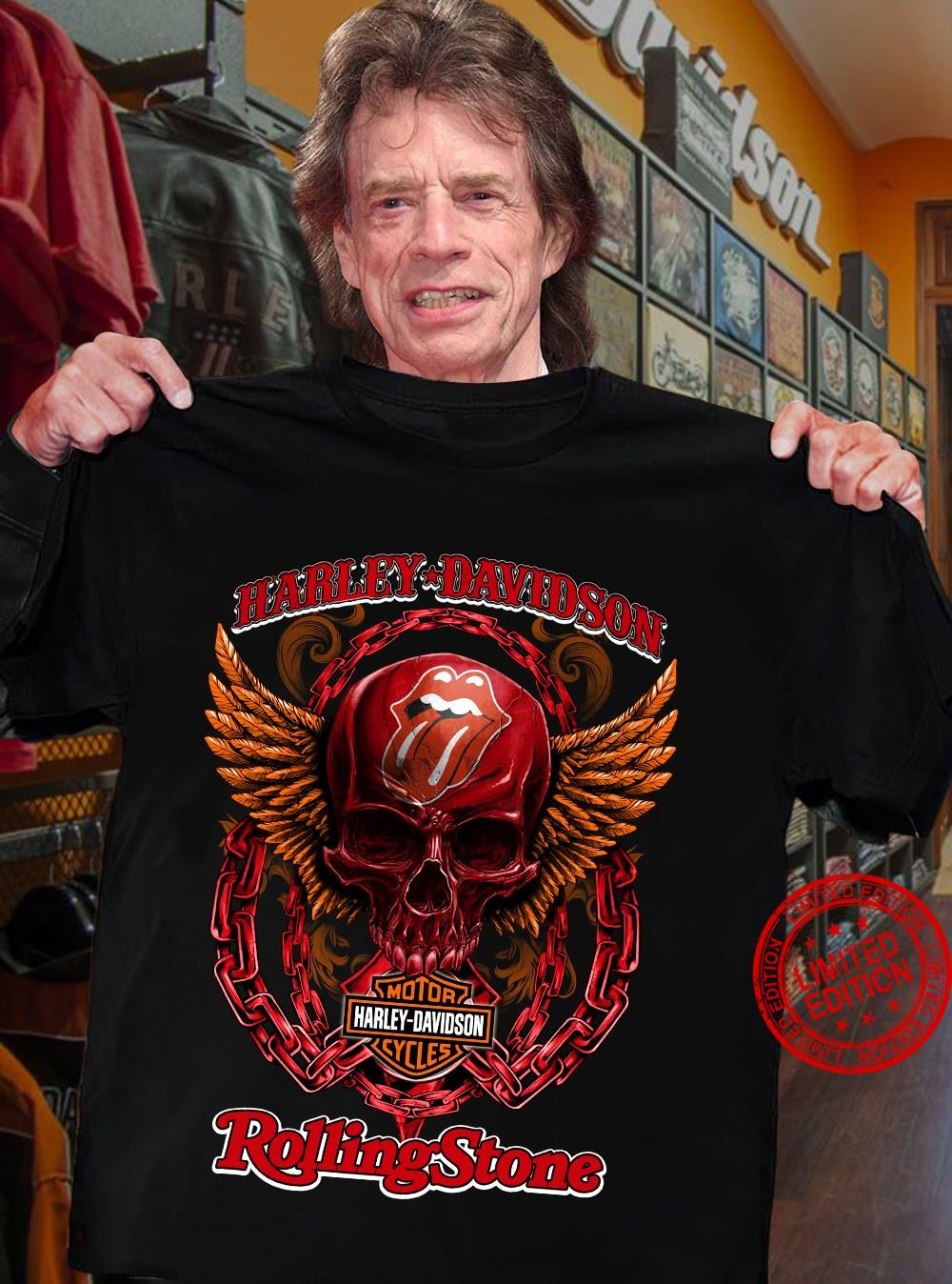 Harley Davidson Motorcycle Company And Rolling Stone Shirt
