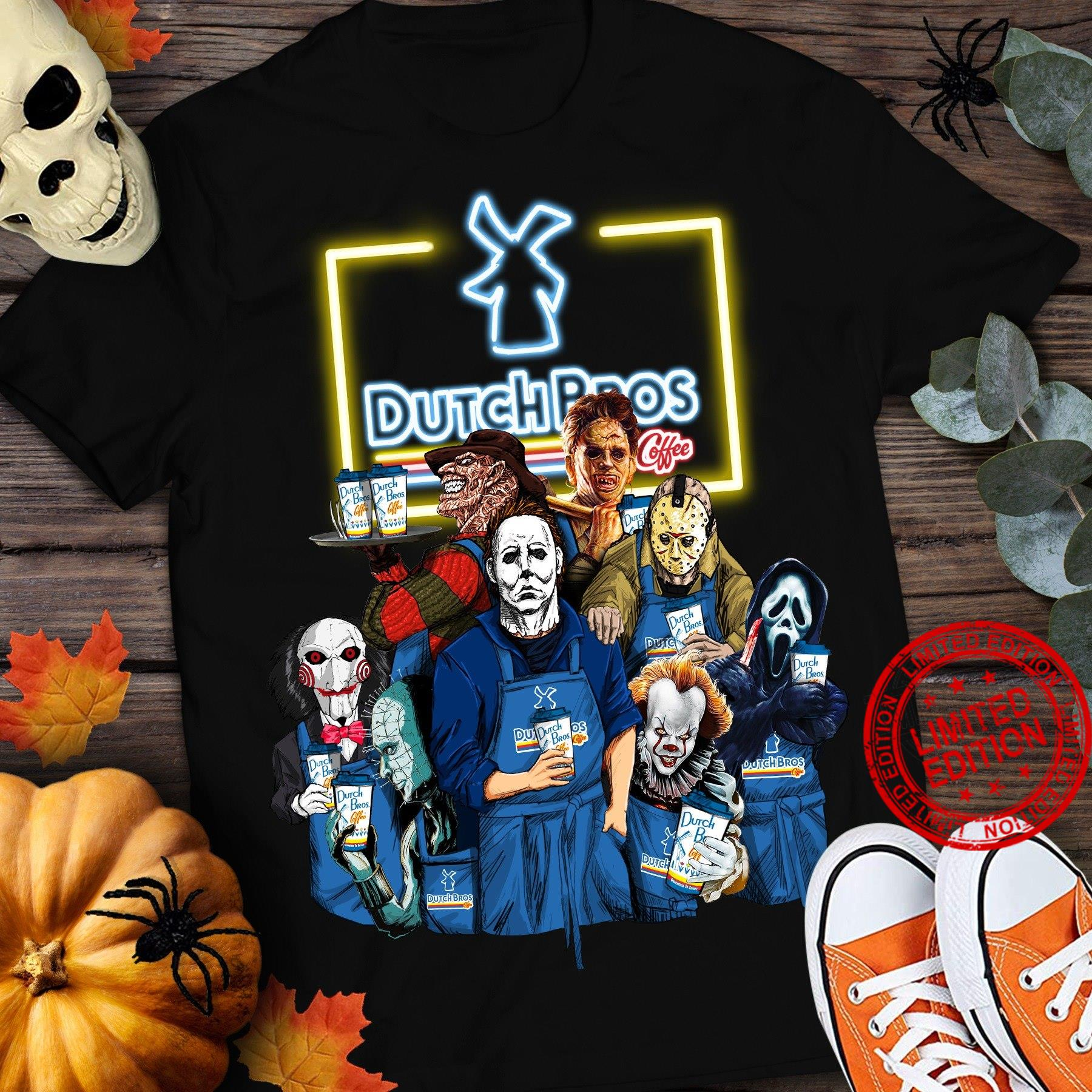 Horror Movie Character Drink Dutch Pros Coffee Shirt
