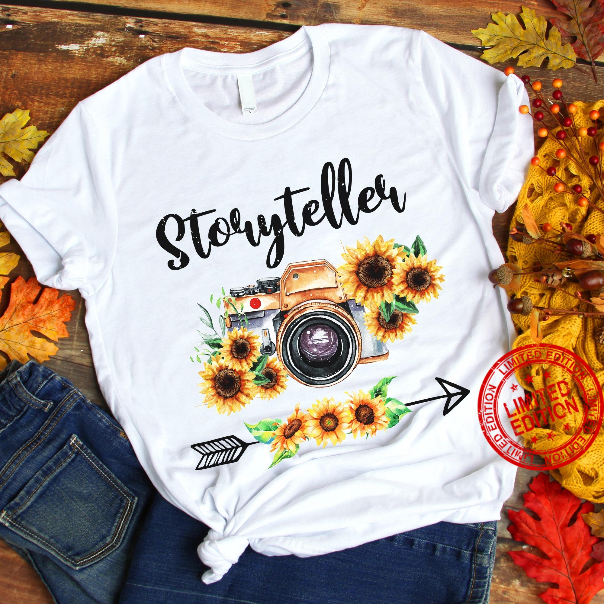 Photographer Gift For Women Storyteller Camera Flowers Shirt